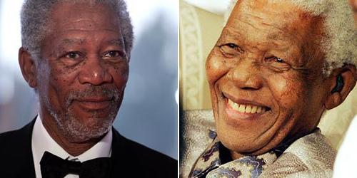 Nelson Mandela y Morgan Freeman